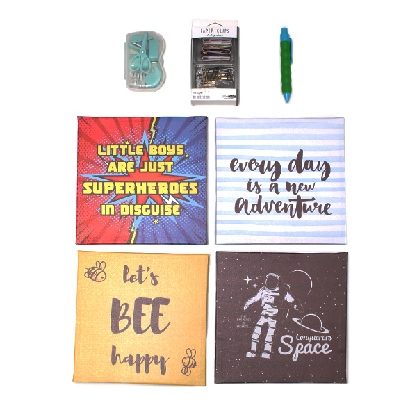 motivational wall pictures & stationery set - boys