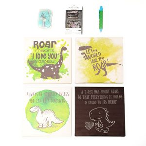 motivational wall pictures & stationery set - dinosaurs