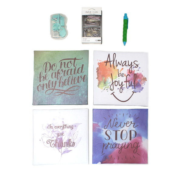 motivational wall pictures & stationery set - faith