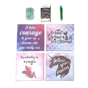 Motivational wall pictures & stationery set - girl magic