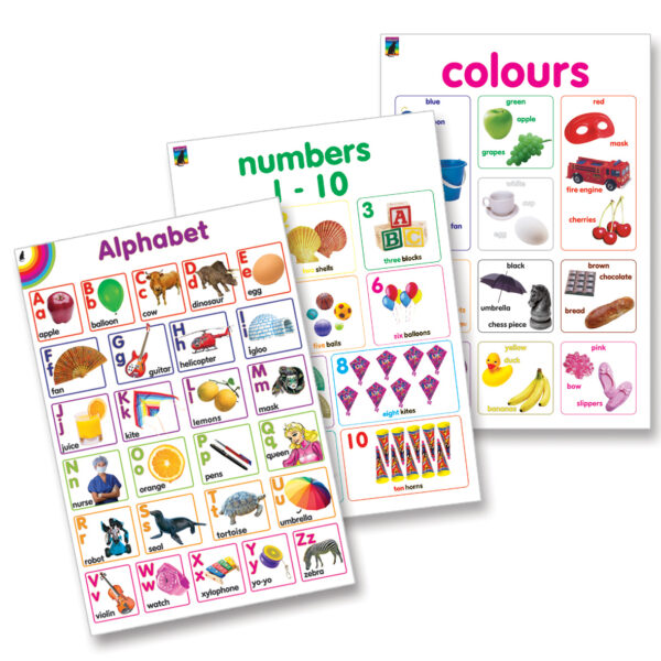 Wall Chart Poster 3 Pack Early Learning