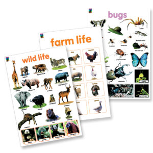 wall chart poster 3 pack nursery safari